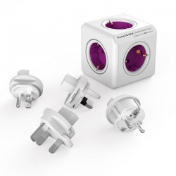 PowerCube Rewirable 4 Tomas + 2 USB + 4 Adaptadores Morada