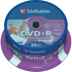 Verbatim DVD+R Printable 16x 4.7 GB Bobina 25 Unds