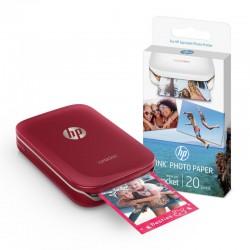 Kit HP Sprocket Bluetooth Roja + Papel Fotográfico Adhesivo